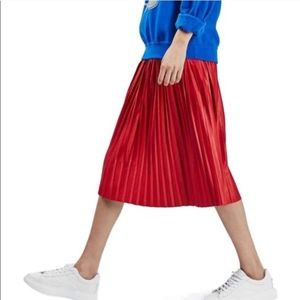 TOPSHOP Pleated Red Skirt